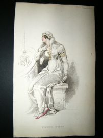 Ackermann 1809 Hand Col Regency Fashion Print. Evening Dress 2-38